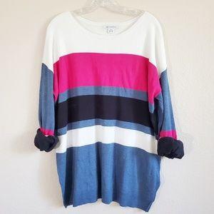 Long sleeve chunky stripes sweater